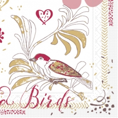 Softpoint-Serviette LOVE & BIRDS 40x40 1/4-F
