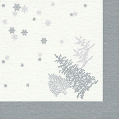 Airlaid-Serviette TREE and SNOWFLAKES silver 40x40 1/4-F